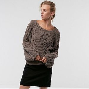 Express Taupe Chenille Balloon Sleeve Sweater